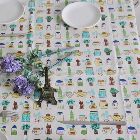 polyster linen printed tablecloth fabric