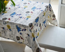 polyster linen printed tablecloth fabric with sailing